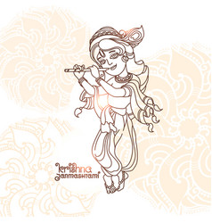 Young lord krishna krishna janmashtami greeting vector