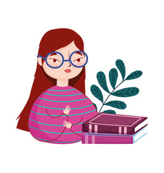 Young woman wearing glasses and stacked books vector