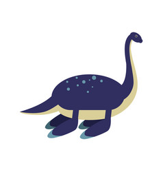 cute cartoon blue elasmosaurus dinosaur vector image vector image