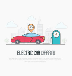 electric red car with charging battery pointer vector image vector image
