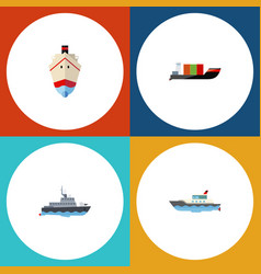 Flat icon ship set of delivery tanker ship and vector