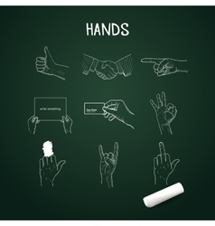 hand drawn hands with chalk on board vector image vector image