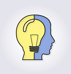 one line forming a head with lightbulb vector image