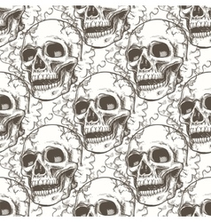Seamless pattern with skull and smoke vector image vector image