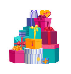 big pile of colorful wrapped gift boxes beautiful vector image vector image