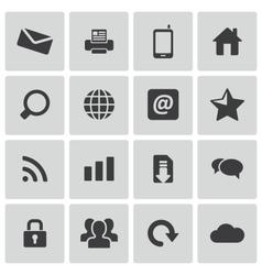 Black internet icons set vector