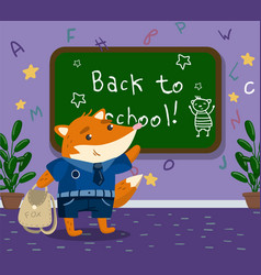 cute funny little fox animal student in school vector image