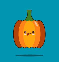 cute vegetable cartoon character pumpkin icon vector image vector image