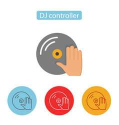 dj turntable record player with hand icon vector image