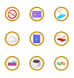 hotel pack icons set cartoon style vector image vector image
