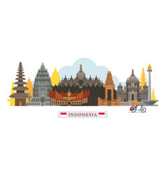 indonesia architecture landmarks skyline vector image vector image