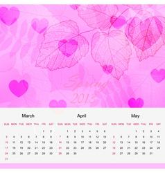 Spring calendar page of new 2013 year vector image