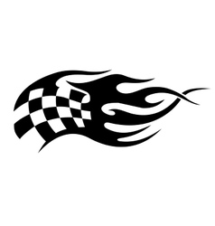 Flaming black and white checkered flag tattoo vector image vector image