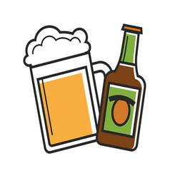 glass and bottle of beer vector image
