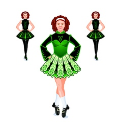 Irish dancers trio vector image vector image