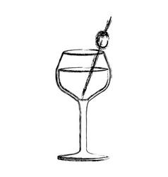 Monochrome sketch silhouette of burgundy glass vector