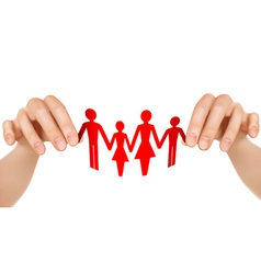 paper family in hands vector image vector image