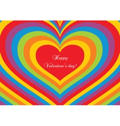 Psychedelic heart valentines day postcard vector
