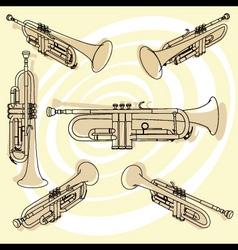 trumpets set vector image