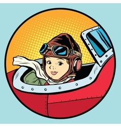 Child pilot plane game dream aviation vector image vector image