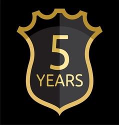 Golden shield 5 years vector image vector image