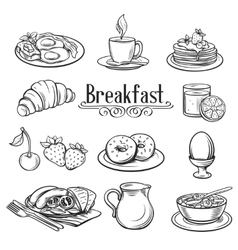 Hand drawn decorative icons breakfast vector image
