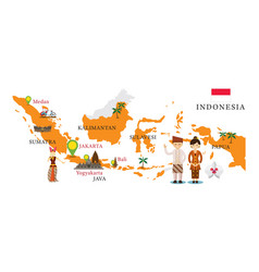 indonesia map and landmarks vector image