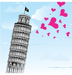 Love to Italy Pisa tower vector image vector image