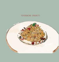 Peperoncino spaghetti hand drawn sketch water vector