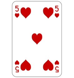 Poker playing card 5 heart vector image