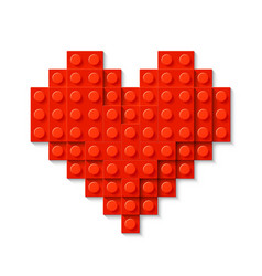 red heart made of plastic construction blocks vector image vector image