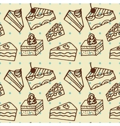 Seamlees pattern with cakes vector image vector image
