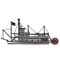 the vintage paddle steamboat vector image vector image