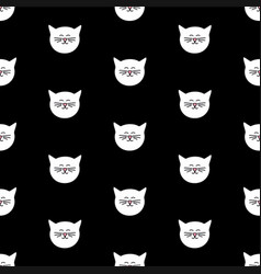 tile pattern with white cats on black background vector image vector image
