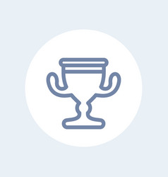 trophy cup line icon isolated on white vector image