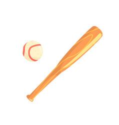 wooden bat and baseball ball part of baseball vector image
