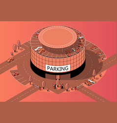 3d isometric multi-storey parking with vector image