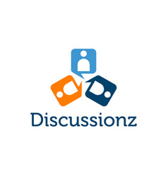 abstract people figure chat icon discussions logo vector image