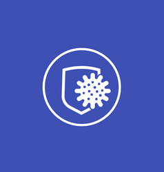 Antibacterial protection icon with shield vector