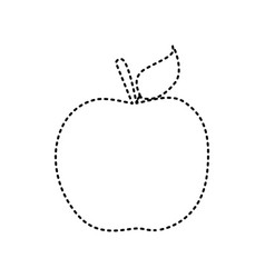 apple sign black dashed icon vector image