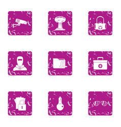 Arrest of observer icons set grunge style vector
