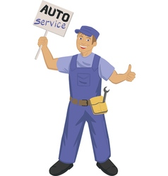 Auto mechanic with poster vector