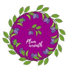 autumn card with hand drawn plum wreath vector image