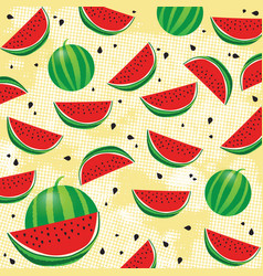 background pattern with watermelon and seeds vector image