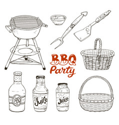 Bbq accessories isolated vector