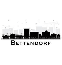Bettendorf iowa skyline black and white silhouette vector