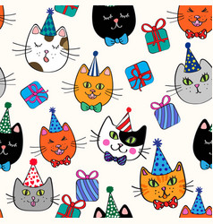 Birthday cats quirky repeat pattern vector