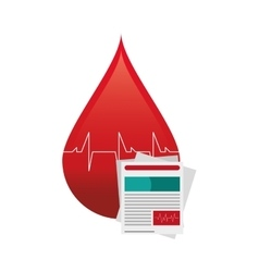 Blood drop cardiogram and medical history icon vector