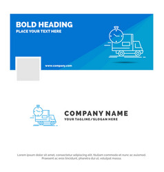 blue business logo template for delivery time vector image