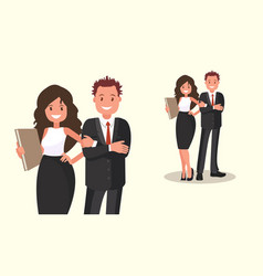business people couple office workers vector image